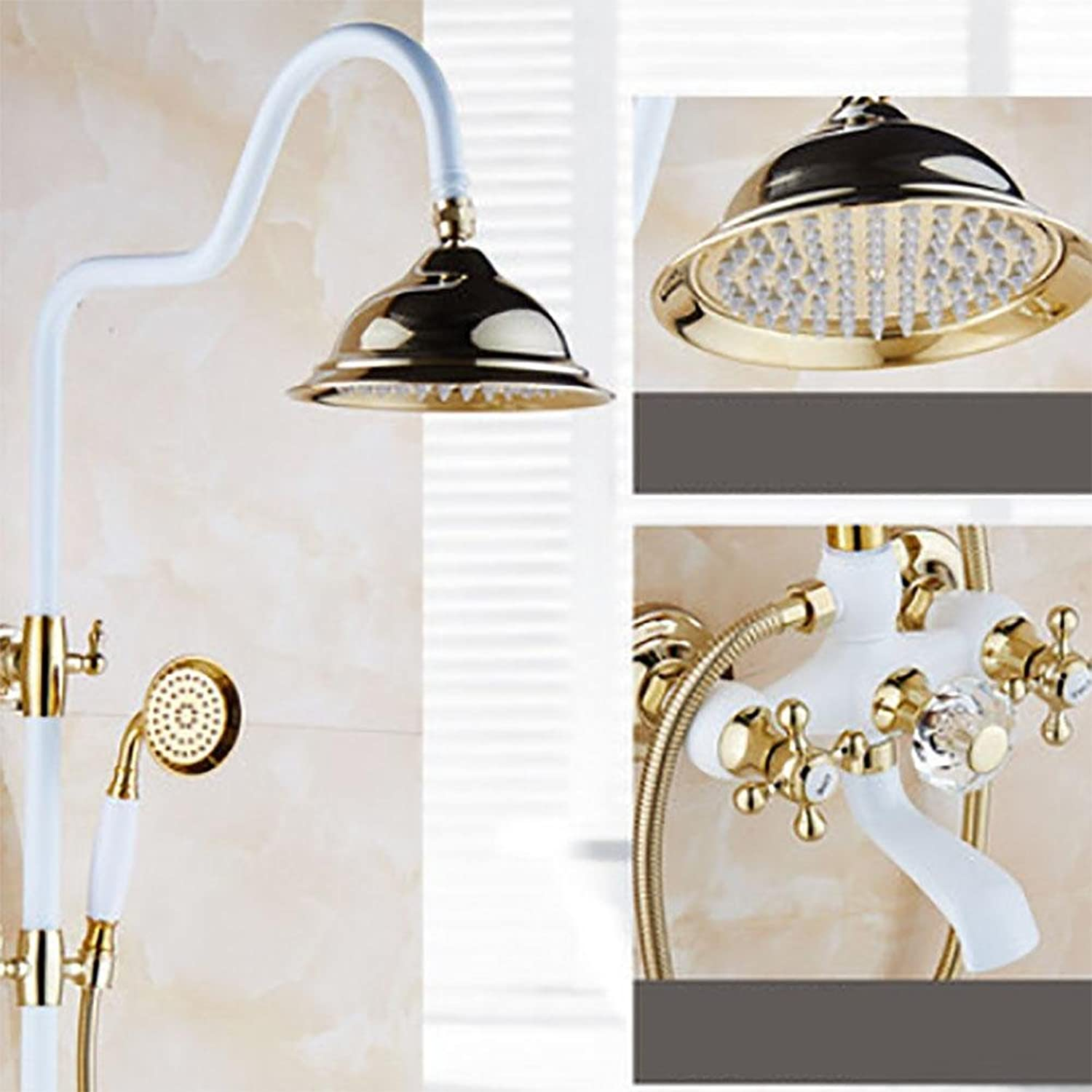 Polished golden & Grilled White Paint Shower Bathtub Faucet Wall Mount Bathroom Rainfall Shower Faucet , F