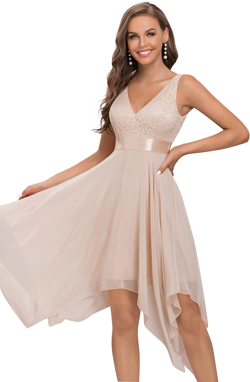 Alisapan Womens Double V Neck Contrast Lace Prom Dress Lace Chiffon Cocktail Dress 0207