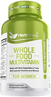 Whole Food Multivitamin for Women with 62 Superfoods, Raw Veggies, Fruits, Probiotic Digestive Enzymes, Vitamin E, A, B Co...