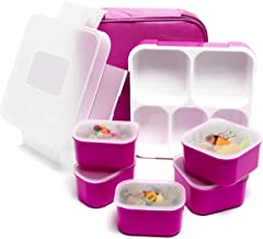 Fun Life Bento Lunch Box, 5 Compartment Insulated Leakproof Meal Prep Container Eco-Friendly Reusable for Men,Women,Adults, Kids (purple)