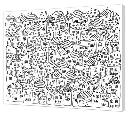 Pintcolor 7165.0 Cadre avec Toile imprimée à colorier, Bois de Sapin et Coton, Blanc/Noir, 50 x 40 x 3,5 cm