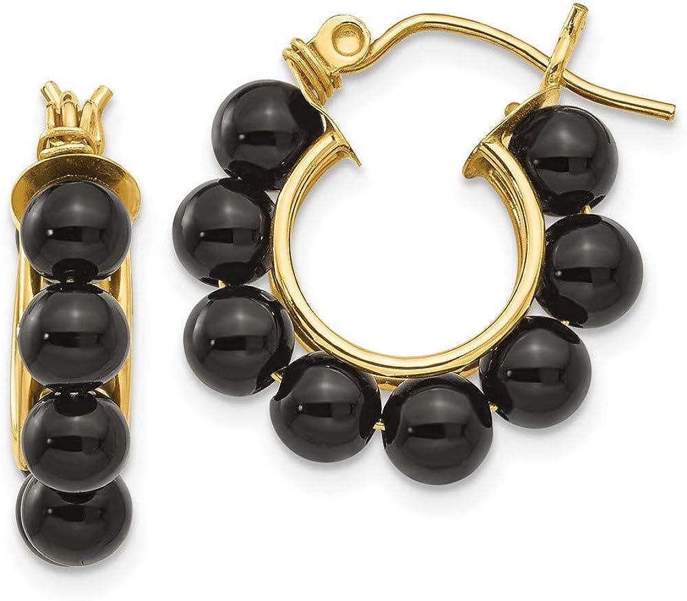 14k Yellow Gold Black Onyx Beaded Hoop Earrings Ear Hoops Set Drop Dangle Fine Jewelry For Women Gifts For Her