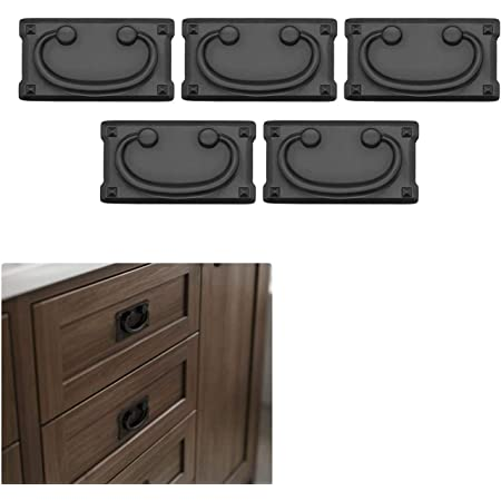 5 Pack Matte Flat Black Cabinet Hardware Mission Style Square Drawer Pull Handle Kitchen Bathroom Cupboard Door, 3-in. Hole Center