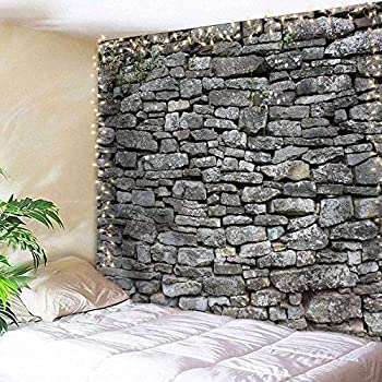 AMBZEK Grey Brick Wall Tapestry Stone Rock 59Hx78W Inch Faux Vintage Rustic Masonry Architecture Hippie Black and Grey Art Wall Hanging Bedroom Living Room Dorm Decor Fabric