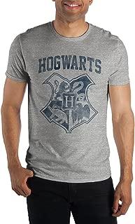 Harry Potter Hogwarts Crest Four Houses Gryffindor Slytherin Hufflepuff Ravenclaw Men's Gray Tee T-Shirt Shirt