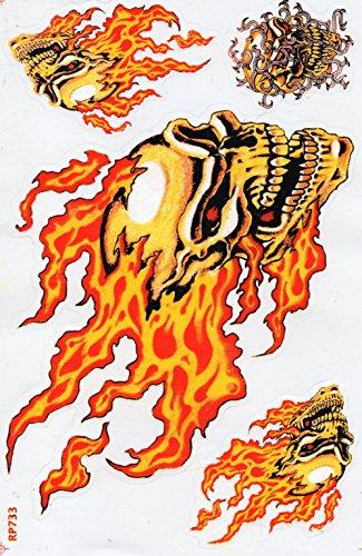 Totenkopf Flammen rot Feuer Sticker Aufkleber Folie 1 Blatt 270 mm x 180 mm wetterfest