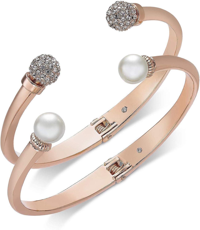 Charter Club 2-Pc. Set Pavé Bead & Imitation Pearl Cuff Bracelets