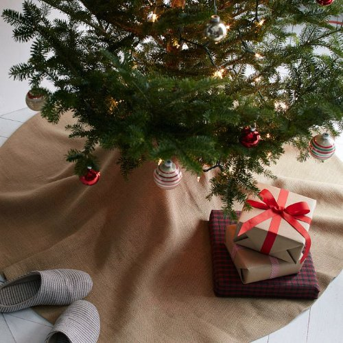 Firefly Imports Homeford Christmas Burlap Tree Skirt Under The Tree, 60-Inch