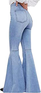 Women's Fashion Bell Bottom Pants High Waist Tassel...