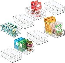 "mDesign Plastic Kitchen Pantry Cabinet, Refrigerator or Freezer Food Storage Bins with Handles - Organizer for Fruit, Yogurt, Snacks, Pasta - Food Safe, BPA Free, 6"" Wide, 8 Pack - Clear"