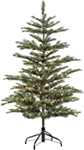 Puleo International 4.5 Foot Pre-Lit Aspen Fir Artificial Christmas Tree with 250 UL Listed Clear Lights, Green