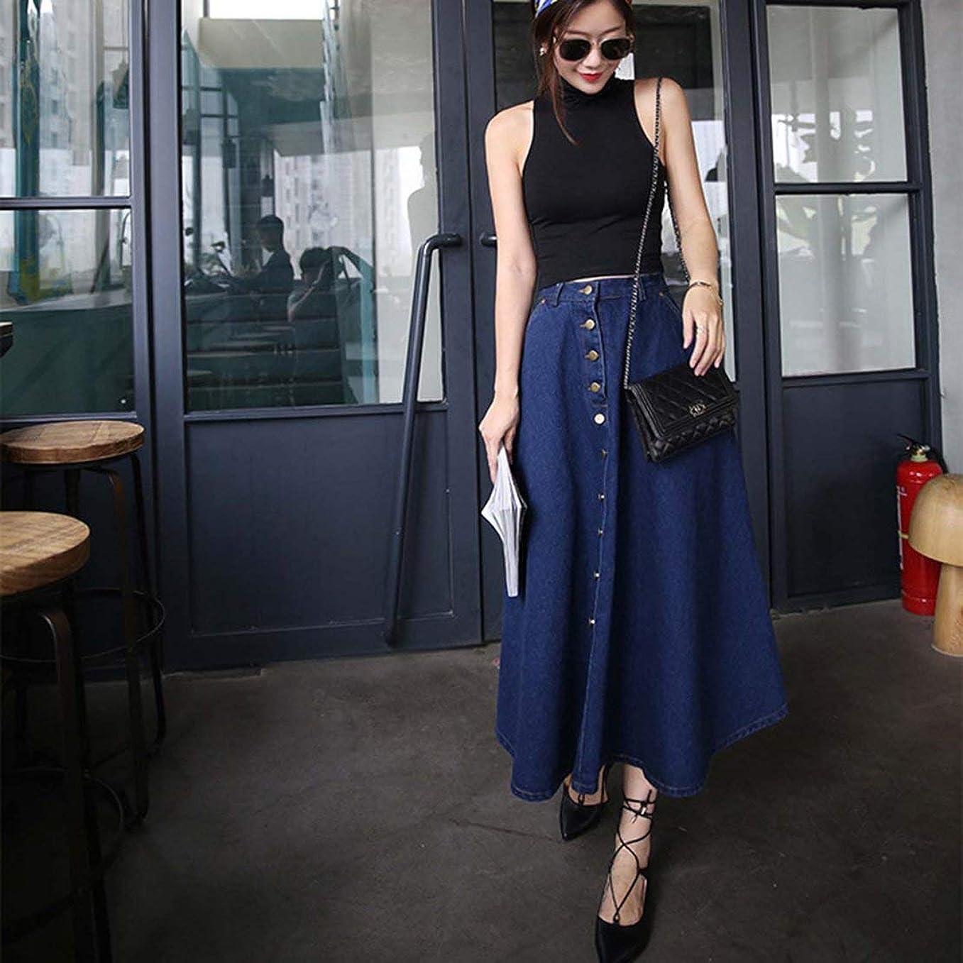 穏やかな落ち着いたシェアShinzeun 韓国風女性ハイウエストルーズタイプロングスカート夏カジュアルすべての試合服デニムスカート女性服