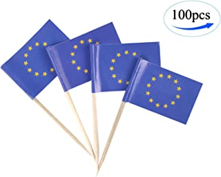 JBCD EU Flag European Flags,100 Pcs Cupcake Toppers Flag, Country Flag National Toothpick Flag,Small Mini Stick Flags Picks Party Decoration Celebration Cocktail Food Bar Cake Flags