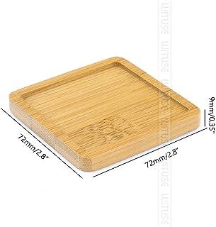 Platos redondos de bambú de madera Tazones cuadrados for suculentas Ollas Bandejas Base Stander Decoración de jardín Decoración del hogar Artesanías 12 tipos Venta ( Color : Dark Khaki , Size : 5pc )