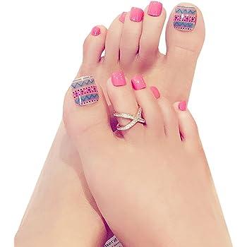24 uñas postizas para los dedos del pie de LA HAUTE, pedicura DIY ...