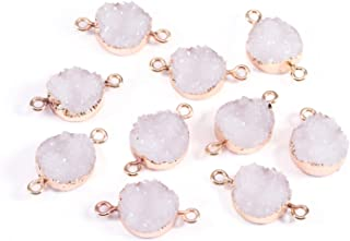 Forise 10pcs New Fashion Faux Druzy Quartz Jewelry Connector Round Resin Stone Fit for Charms Jewelry Making Bracelet Accessories
