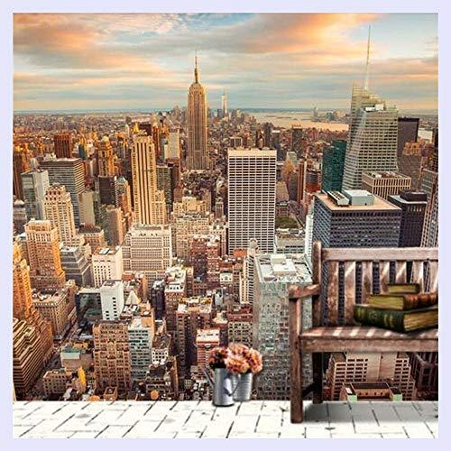 BHXINGMU Aangepaste 3D muurschildering Stad Avond Landschap Achtergrond Slaapbank Tv Toren in New York Wallpaper 220cm(H)×300cm(W)