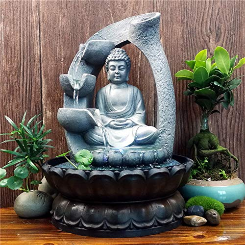 11.8in Buddha Tabletop Waterfall Fountain Fengshui Meditation Relaxing Indoor Decoration, Waterfall Kit with Circular Water Flow for Home, Office, Bedroom Decoration, Grey (Grey 1)