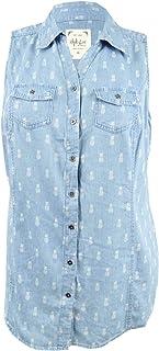 Style & Co. Plus Size Pineapple Daze Printed Denim-Look Shirt