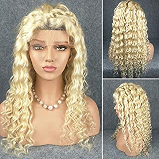 Berimy Brazilian Virgin Full Lace Human Hair Wigs Glueless Full Lace Front Wig Blonde 613 Color Deep Wave Wigs for Black Women Free Part(Lace Front Wig 14)