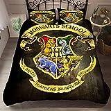 Yomoco - Juego de ropa de cama con diseño de Harry Potter escuela de magia, funda nórdica y dos fundas de almohada, microfibra, impresión digital 3D, juego de tres piezas, 42, Double 200x200cm