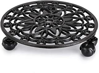 Skelang Cast Iron Plant Stand, Planter Casters with Lock Wheel, Plant Pallet Caddy, Plant Pot Dolly, Rolling Tray, Moving Plant Pot Saucer, Diameter 11.5