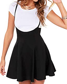 Women's Suspender Skirts Basic High Waist Versatile Flared Skater Skirts