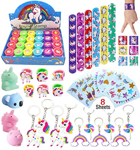 Klmars AB-112 Unicorn Theme Party Favor for Kids-96Pcs Tatoo-24Pcs Stamper-27 Pcs Rings Necklace Keychain-Birthday Party Supplies, Colorful