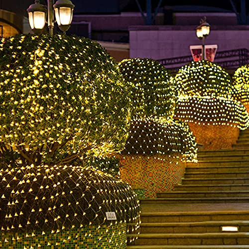 ZJQ-Festival Exterior Luces de Red de Pesca, Impermeable 8 Modos Luces de Ambiente de Fiesta, para Patio, Jardín, Bodas, Navidad,Warm White,6M*4M