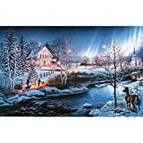Bits and Pieces - 1000 Piece Glow in The Dark Puzzle - All is Bright by Artist James Meger - Winter Holiday Landscape - 1000 pc Jigsaw