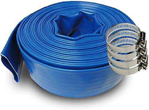 discount SCHRAIBERPUMP 3-Inch by 200-Feet- General Purpose discount Reinforced PVC Lay-Flat Discharge and Backwash online sale Hose - Heavy Duty (4 Bar) 4 Clamps Included online