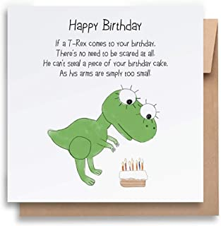 If A T-Rex Comes -Children's Birthday Card with Envelope, Kid's Birthday Card Funny Birthday Card Humorous Birthday Card f...