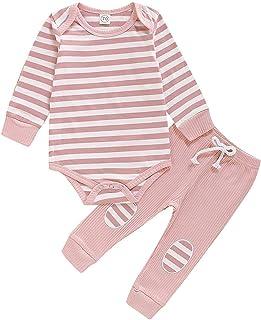 Carolilly Baby-Set, Unisex, Body mit langen Ärmeln  Hose, Pyjama, für Herbst / Winter 0 – 24 Monate