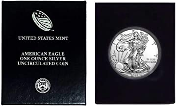 2019 - American Silver Eagle in Plastic Air Tite and Blue Gift Box with our Certificate of Authenticity Dollar Uncirculated Us Mint