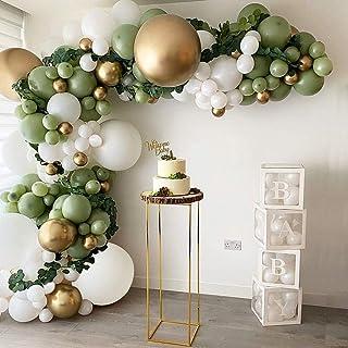 DIY Balloon Arch Kit Olive Green White Balloon Garland Kit-149pcs Avocado Green, White And Metallic Chrome Gold Balloons F...
