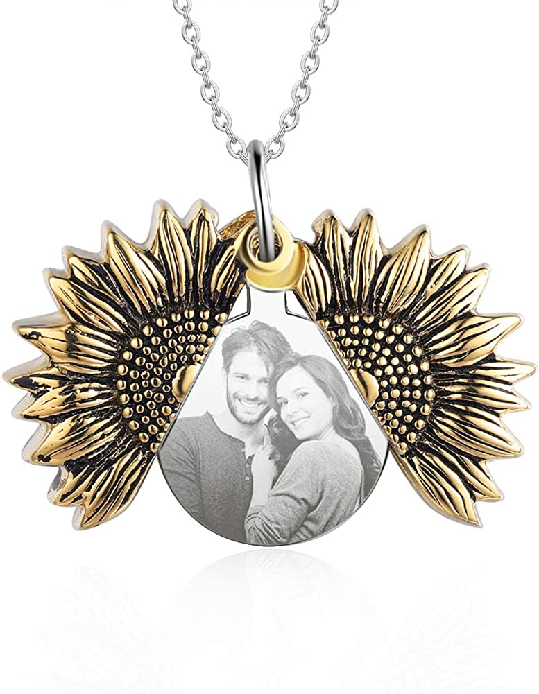 kaululu Personalized Picture Necklace for Women Men Memory Pendant Necklace with Picture for Unisex Custom Engraved Locket Necklace That Holds Pictures Sunflower Necklace Gift for Girls Boys