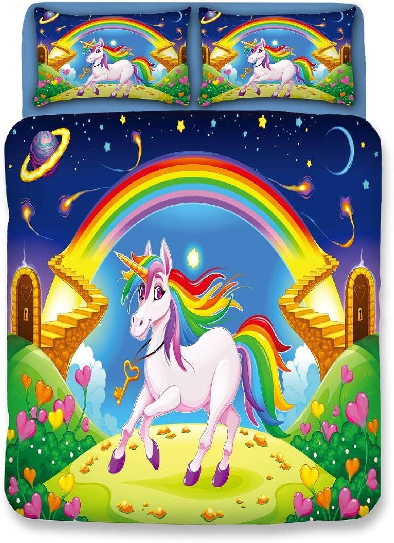 Funda nórdica Ropa de cama, funda de almohada, unicornio, nio de dibujos animados, juego de 3 piezas, cama individual Cama tamao King, poliéster sin desColoramiento, ropa de cama cómoda,02,Twin