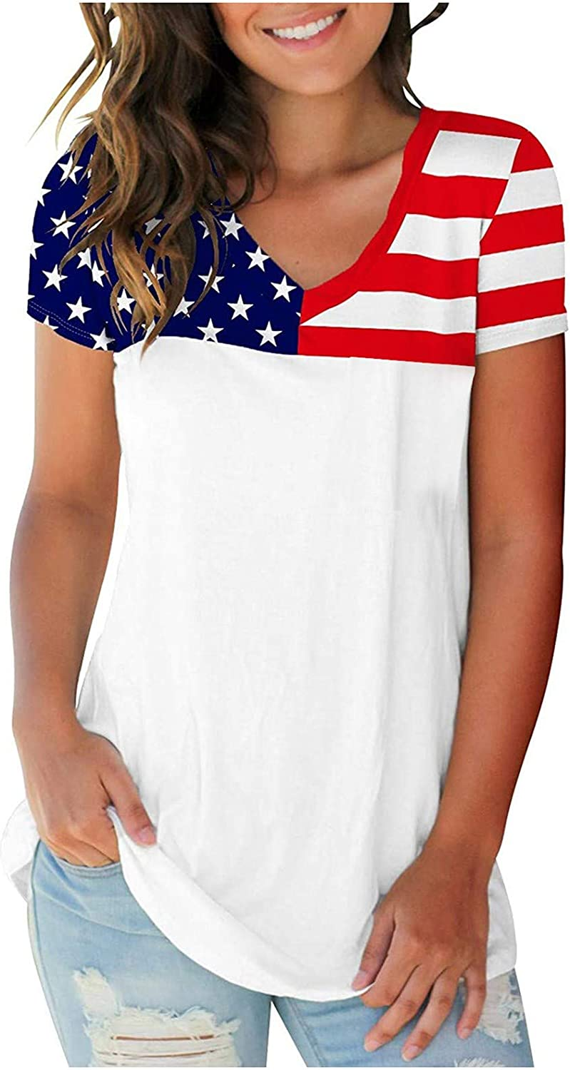 SKOLL Patriotic T Max 89% OFF Shirts Max 56% OFF for Commem Loose Day Women Independence