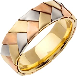 14K Tri Color Gold Braided Basket Weave Men's Comfort Fit Wedding Band (7mm)