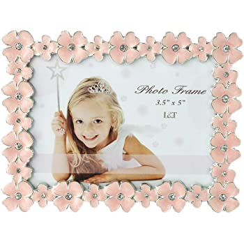 L&T Pink Enamel Picture/Photo Frame Metal with Silver Plated and Crystals, Floral Style 3.5 x 5 Inch
