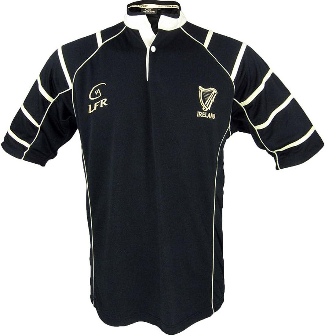 Ireland Black Irish Harp Breathable Rugby Shirt