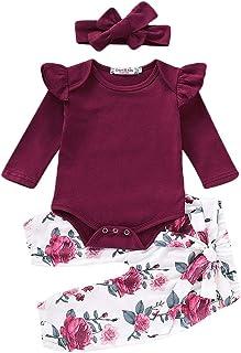 Shawnlen Neugeborenes Baby Lässige Kleidung Set Plissee Schulter Strampler Spielanzug  Floral Lange Hose  Stirnband 3 Stück Baby Outfits 0-18 Monate