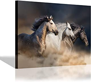 Running Horses Canvas Wall Art: Wild Animal Picture Painting Print Artwork for Living Room (36'' x 24'' x 1 Panel)