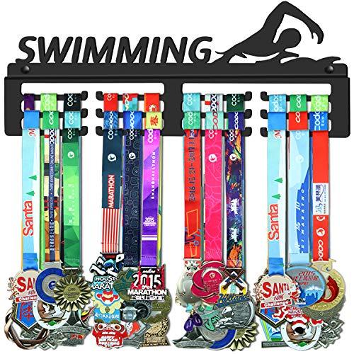GENOVESE Medaillenhalter, Medaillen-Aufhänger für Schwimmer, schwarzes stabiles Stahl-Metall, Wandmontage über 50 Medaillen