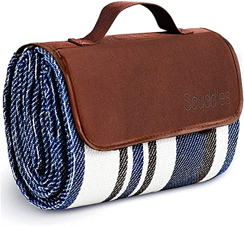 Extra Large Picnic & Outdoor Blanket Dual Layers for Outdoor Water-Resistant Handy Mat Tote Spring Summer Blue and White Striped Great for The Beach, Camping on Grass Waterproof Sandproof (60 X 79)