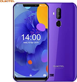 OUKITEL C12 (2019) Unlocked Smartphone Global 3G, 6.18 inches (19:9) Screen, 2GB +16GB, Android 8.1 OS, 8MP+2MP Cameras, Dual Sim, Face Fingerprint Recognition Unlocked Cell Phones- Purple