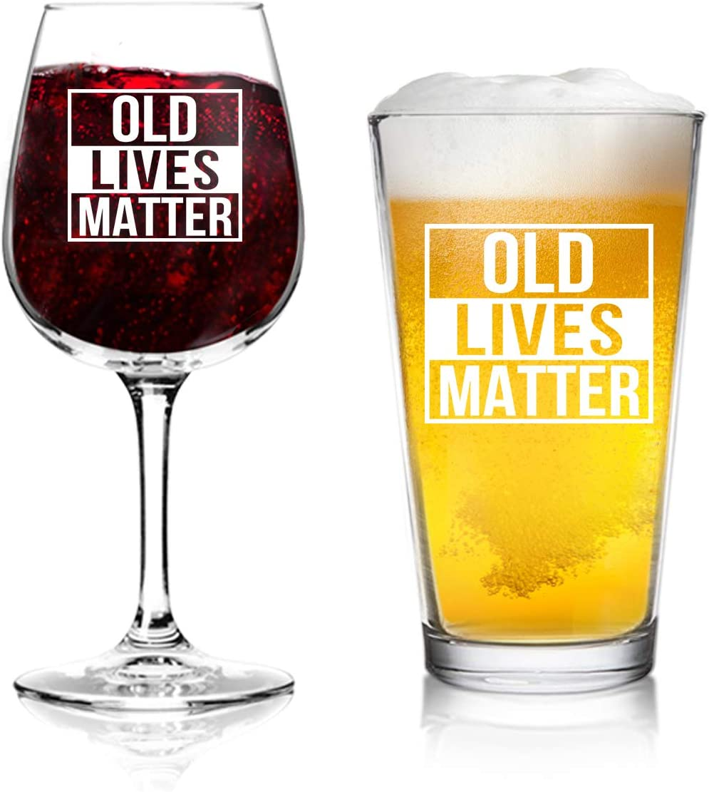 Old Lives Matter Wine Animer and price revision and Beer Retiremen or online shop Birthday Glass Set