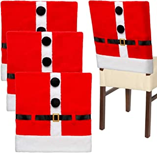 D-FantiX Santa Claus Suit Christmas Chair Covers with Belt Buckle Dining Room Chair Covers Holiday Christmas Decorations Red Set of 4