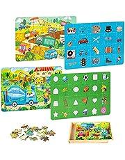 VATOS 4-pack houten puzzels voor peuters in een doos, 28-delige / pak bouwpuzzels voor kinderen van 3 4 5 6 7, voorschoolse educatief speelgoed voor jongens en meisjes