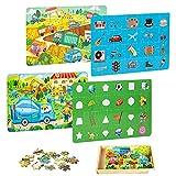 VATOS Puzzles de Madera 112 Piezas - Rompecabezas de Madera Puzzles Infantiles 3 4 5+ años Juguetes educativos de Aprendizaje Preescolar con Caja